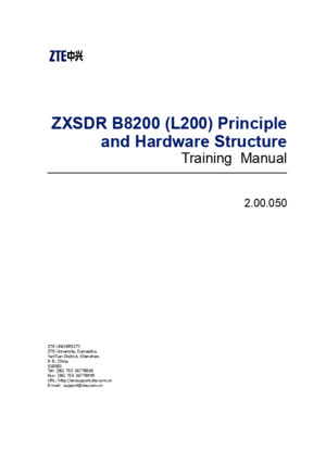 ZXSDR B8200(L200) Principle and Hardware Structure Training Manual