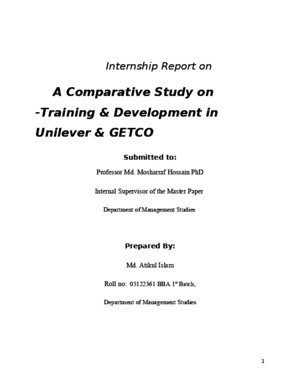 An Intersnhip Report on Traning and Development on Unilever and Getco