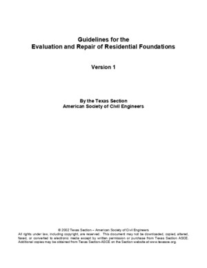 ASCE Guidelines for Evaluation and Repair of Residential Foundations