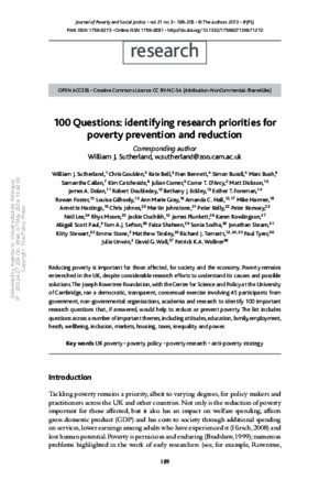 100 Questions_identifying Research Priorities for Poverty Prevention and Reduction