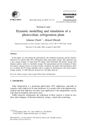 Dynamic modelling and simulation of a photovoltaic refrigeration plant