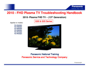 2010 FHD Plasma TV G20 G25 Series Troubleshooting Handbook