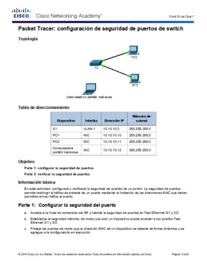 2249 Packet Tracer - Configuring Switch Port Security Instructions