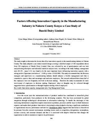 Factors Affecting Innovation Capacity in the Manufacturing Industry in Nakuru County Kenya: a Case Study of Buzeki Dairy Limited