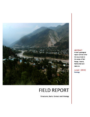 Field Report about Salt Range and Hazara Range