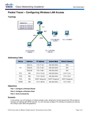 4422 Packet Tracer - Configuring Wireless LAN Access Instructions