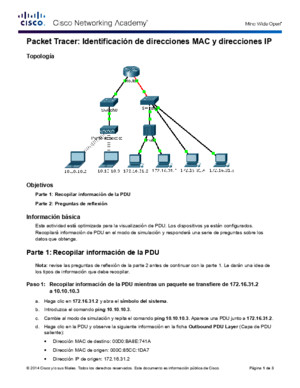 5144 Packet Tracer - Identify MAC and IP Addresses Instructions