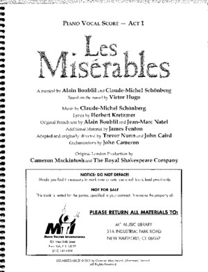 Les Miserables Act 1 Piano Conductor Score