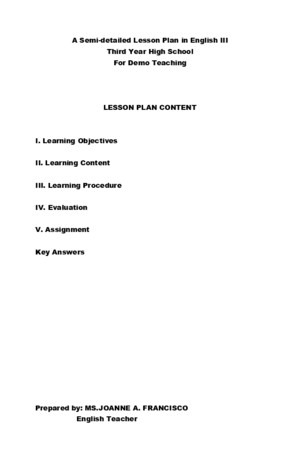 Lesson Plan for Demo Teaching