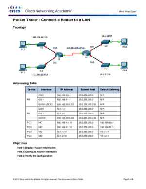 6433 Packet Tracer - Connect a Router to a LAN