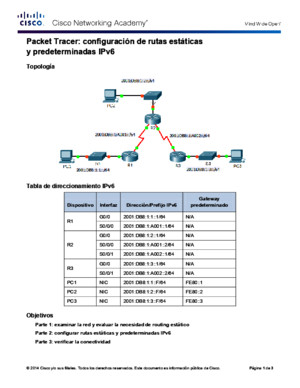 6244 Packet Tracer - Configuring IPv6 Static and Default Routes Instructions