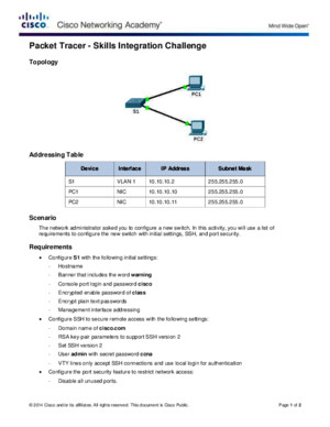 Packet Tracer - Skills Integration Challenge Instructions