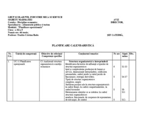 Planificare Operationala Planificare Calendaristica