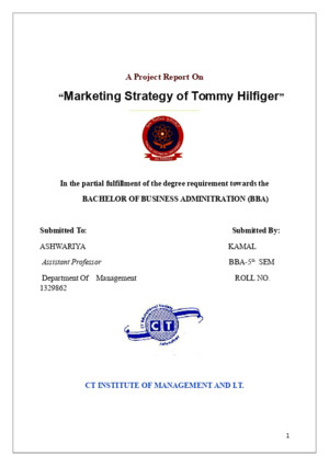 A Project Report on Market Strategey of Tommy Hilfiger