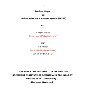 Seminar Report on Holographic Data Storage System (HDSS)