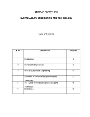 Seminar Report on Sustainability Engineering and Technology