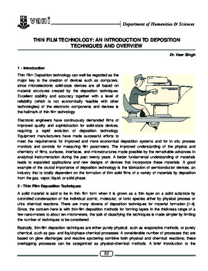 Thin Film Technology an Introduction to Deposition