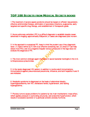 Top 100 Secrets From Medical Secrets Books