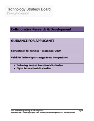 TSB Guidance for applicants for Technology Strategy Board Competition