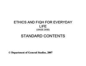 UNGS 2050 slides (Ethics and fiqh of everyday life)