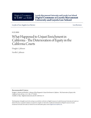 What Happened to Unjust Enrichment in California - The Rapid Deterioration of Equity in the California Courts